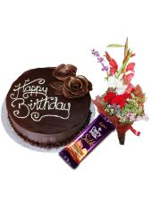 ='Combo of Dark Brown Chocolate Cake + Mix Flowers Bunch + Free Dairy Milk Silk'
