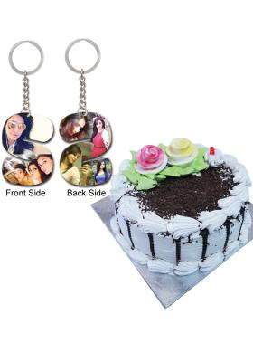 Citystore.in, Flavour Cake, Combo of Black Forest Cake + Alphabet Key Chain, City Store