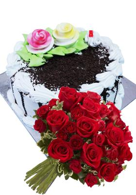 Citystore.in, Flavour Cake, Combo of Black Forest Cake + Rose Flower Bunch, City Store