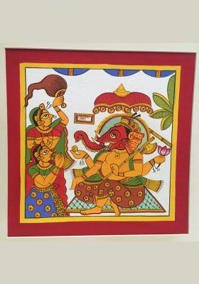 Citystore.in, Art & Paintings, Phad-Painting--size-10.5x10.5inches{ganesh-with-riddhi-siddhi}, Phad Painting