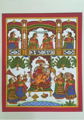 Citystore.in, Art & Paintings, Phad-Painting--size-13.5x15.5{ganpati-pooja}, Phad Painting