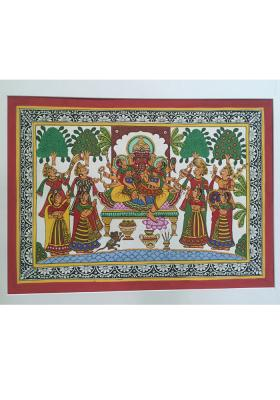 Citystore.in, Art & Paintings, Phad-Painting--size-13x17inches{ganesh-with-riddhi-siddhi}, Phad Painting