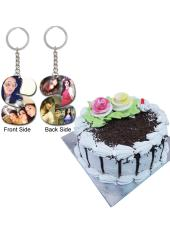 Citystore.in, Flavour Cake, Combo of Black Forest Cake + Alphabet Key Chain, City Store,