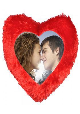 Red Heart Single Side Fur Cushion