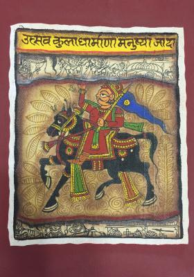 Phad-Painting--size-8x9.5{horse-rider}