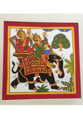 Phad-painting--size10.5x10.5inches{Elephant-ride}