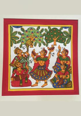 Phad-Painting--size-10.5x10.5inches{Flame-dance}