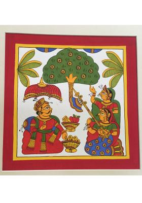 Phad-painting--size10.5x10.5inches{kings-break-fast-in-garden}