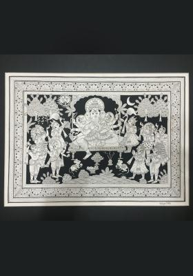 Phad-Painting--size-13x17inches{ganesh-with-riddhi-siddhi}