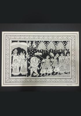 Phad-Painting--size-13x17inches{riddhi-siddhi-welcoming-ganesh}
